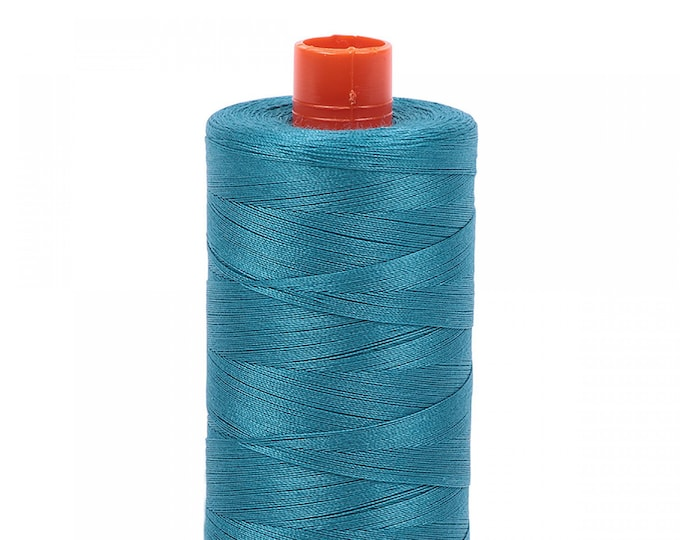 AURIFIL MAKO 50 Wt 1300m 1422y Color 4182 Dark Turquoise Cotton Quilting Thread