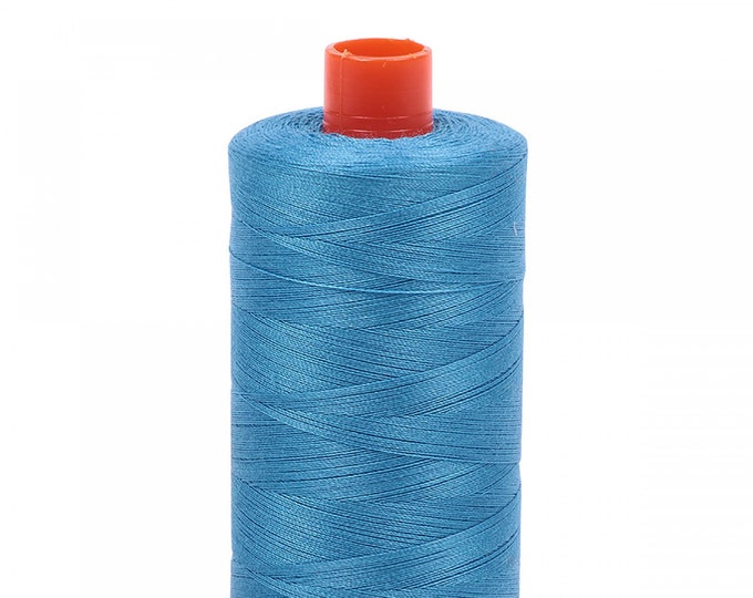 AURIFIL MAKO 50 Wt 1300m 1422y Color 1320 Medium Teal Quilt Cotton Quilting Thread