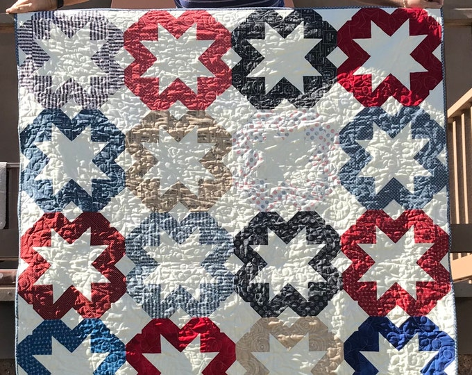 Scrappy Starflakes Moda Sweetwater Freedom Patriotic QOV Red White Blue Coriander Quilts Quilt Kit 70 x 84