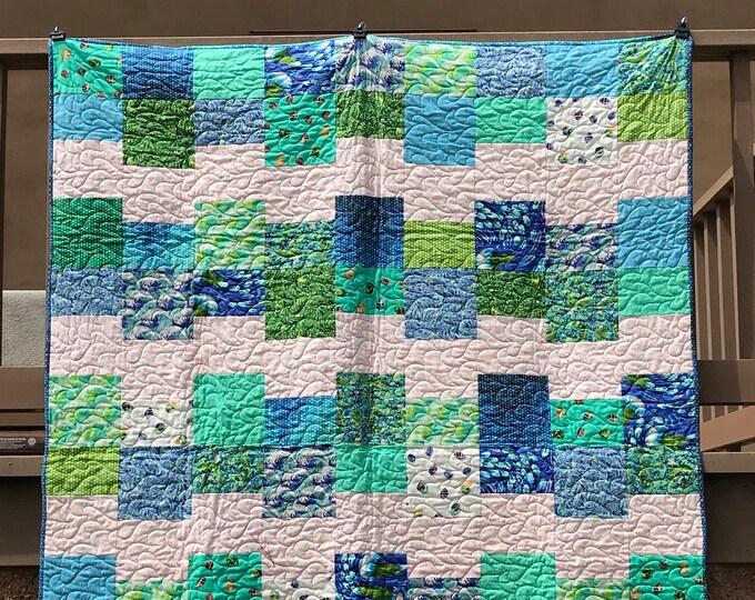 Cloud Nine Tula Pink Zuma Ocean Seahorse Shell Jellyfish Fabric Villa Rosa Modern Quilt Kit 54 x 70