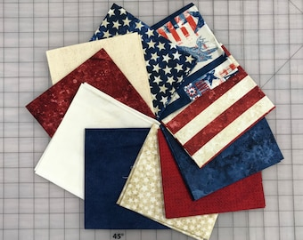 10 Red White and Blue Patriotic Stars Moda Andover Northcott Quilt Fabric Fat Quarter FQ Bundle