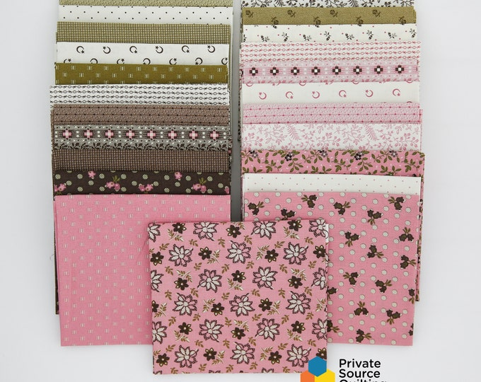 Windham Madeline Pink Brown Green Olive White Floral Shirting Civil War Reproduction Fabric 23 Fat Quarter Bundle