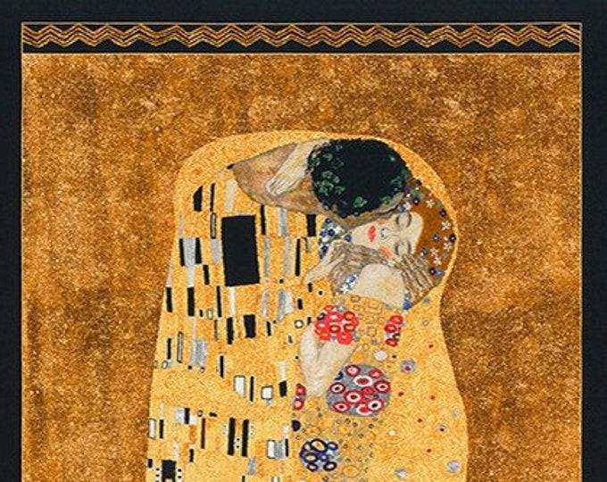 Robert Kaufman Gustav Klimt The Kiss Cotton Gilded Fabric Panel  (24 x 42)