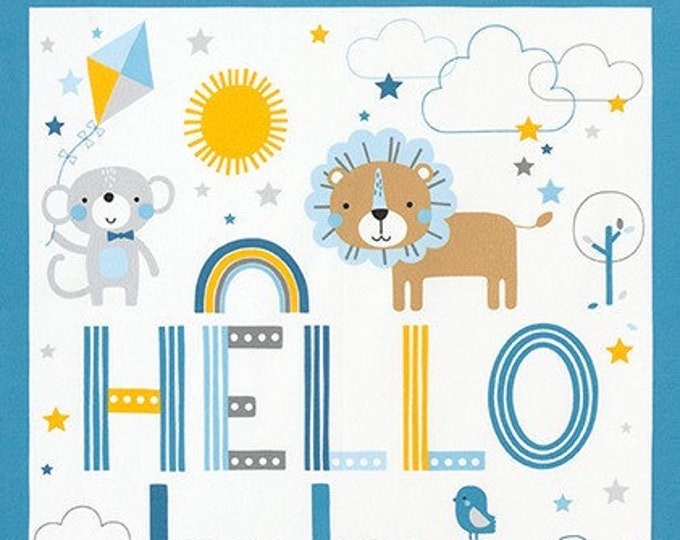 Kaufman Welcome Baby Flannel Lucy Belfield Elephant Lion Giraffe Quilt Blue Panel Fabric 17889-4 BTY