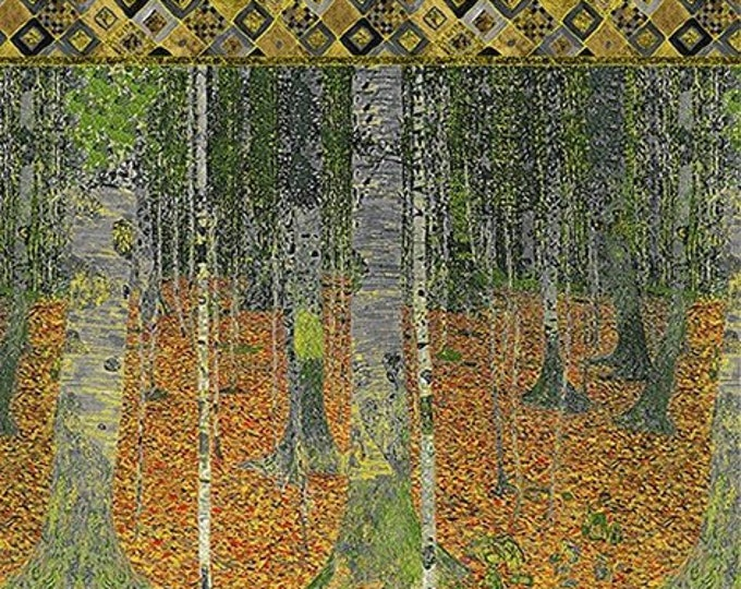 Robert Kaufman Gustav Klimt Spring 2019 Autumn Tree Forest Cotton Gilded Fabric Panel (24 x 42) BTP 18655-191