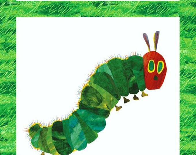 Andover The Very Hungry Caterpillar Eric Carle Green White Red Butterfly Metamorphosis Panel Fabric 5280-M BTP