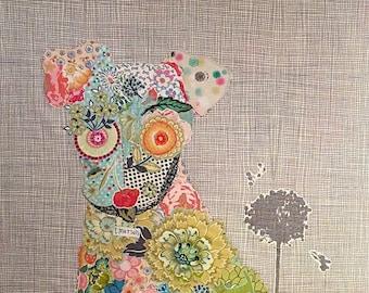Fiberworks Laura Heine Collage EMERSON Puppy Dog Quilt Pattern 21 x 39