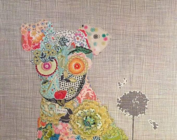 Fiberworks Laura Heine Collage EMERSON Puppy Dog Quilt Pattern 21 x 39