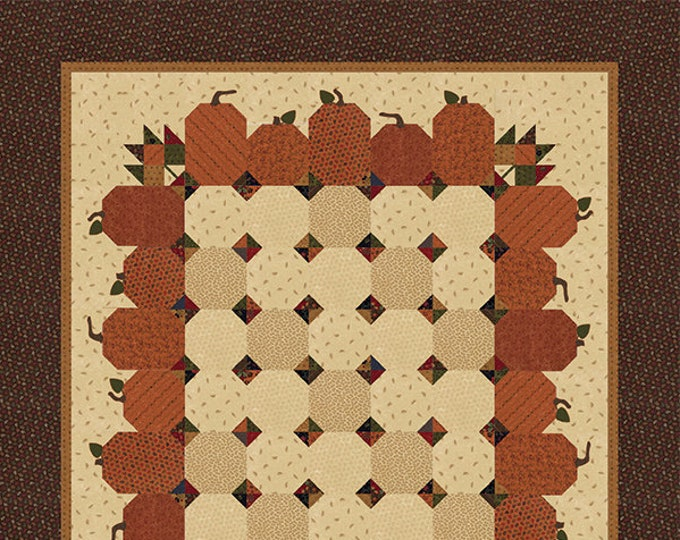Moda Natures Glory Kansas Troubles Pumpkin Orange Cream Brown Green Fabric Quilt KIT 66 x 78