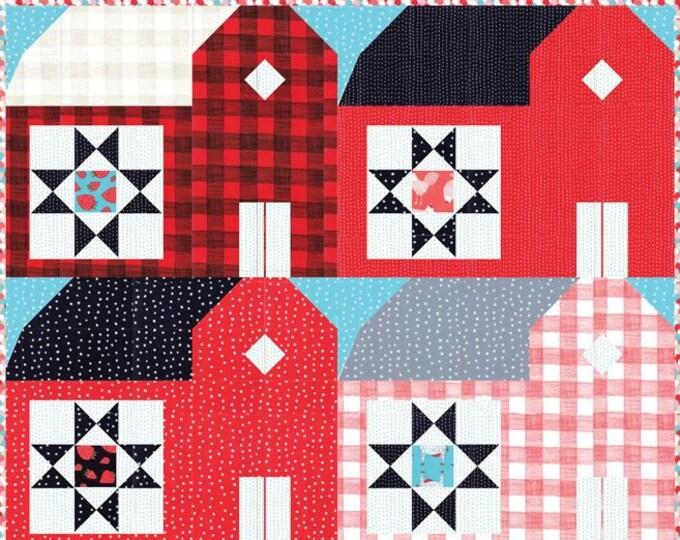 Moda Red Barns Farm Fresh Gingiber Barn Red Blue White Plaid Fabric Complete Quilt KIT 48 x 60
