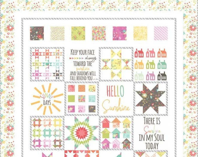 Moda Sunnyside Up Sunny Sampler Corey Yoder Coriander Quilts Floral Pink Yellow Fabric Complete Quilt KIT 57 x 69