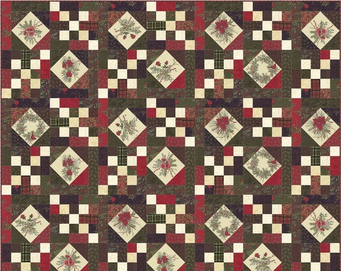 Moda Winter Manor Holly Taylor Christmas Holiday Fabric Complete Quilt KIT 70 x 80