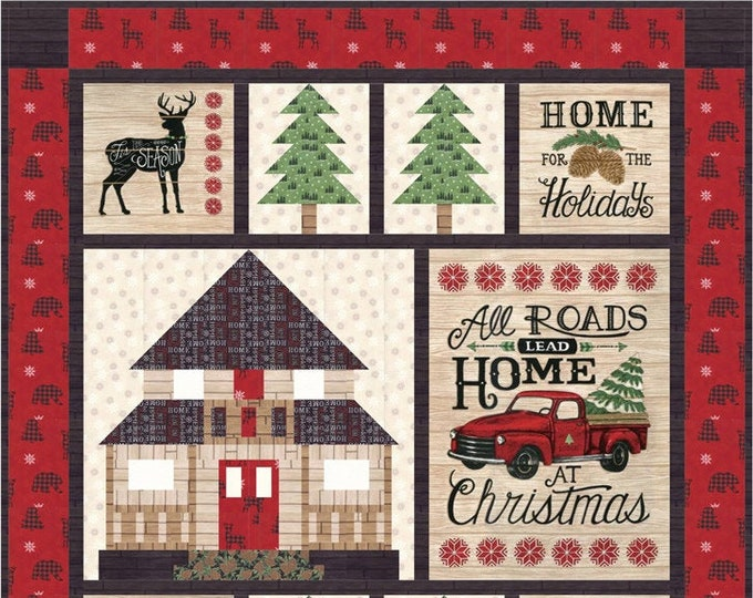 Moda Holiday Lodge Deb Strain Cabin Christmas Holiday Fabric Complete Quilt KIT 49 x 54
