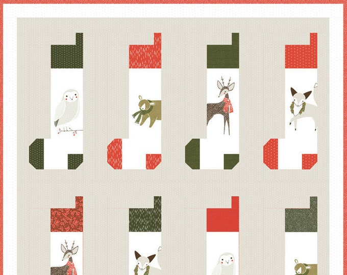 NEW Moda Merriment Gingiber Stocking Holiday Christmas Fabric Complete Quilt KIT 55 x 56