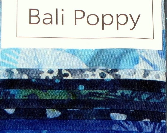Hoffman Bali Poppy Batik Blue Hawaiian Blue Teal Green 20 2.5 in Strips