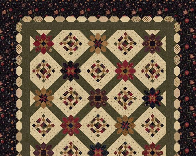 Moda On Meadowlark Pond Kansas Troubles Red Beige Tan Green Fabric Quilt Kit 72 x 72