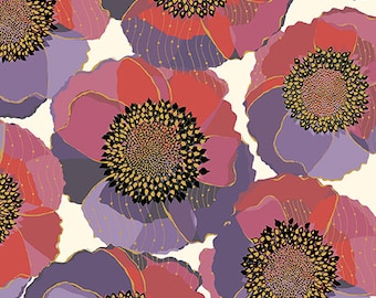 Quilting Treasures Bellisima Bellissima Packed Floral Poppy White Beige Pink Purple 26209-E BTY