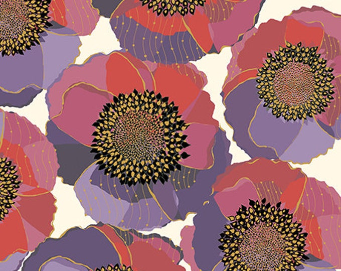 Quilting Treasures Bellisima Bellissima Packed Floral Poppy White Beige Pink Purple Fabric BTY 26209-E