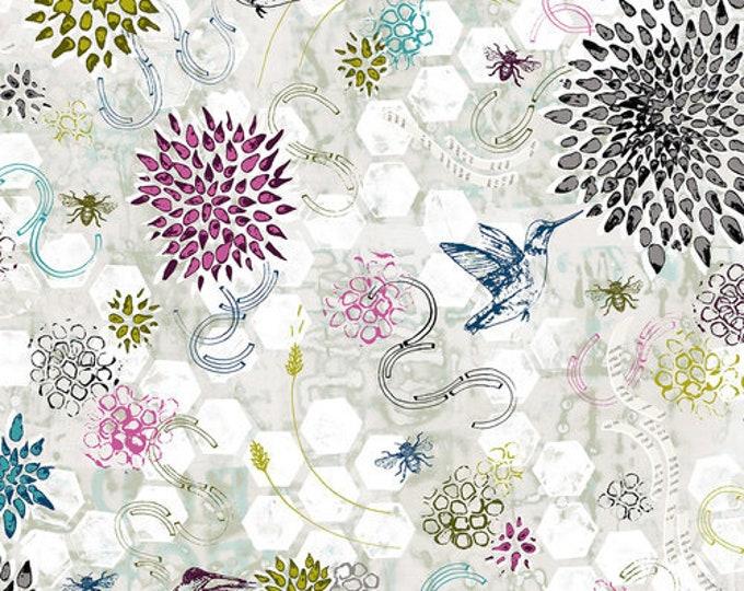 RJR POLLINATOR Leslie Tucker Jenison Hummingbird Dance Grey Gray Mist Floral Fabric LT300-Gr1 BTY