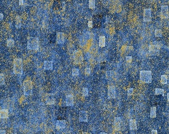 Robert Kaufman Gustav Klimt Blue Cobalt Gold Yellow Cotton Square Gilded Fabric BTY 17181-4