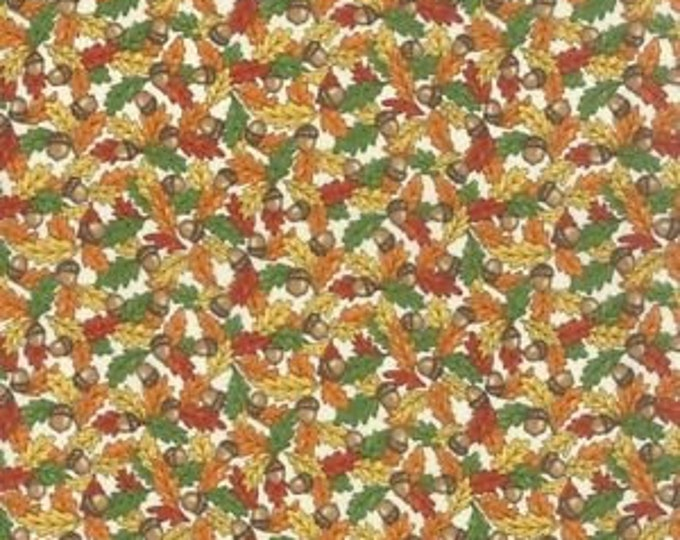 Moda Forest Fancy by Deb Strain Cream Leaves & Acorns Fabric Cotton Fall tone colors 19713 16 BTY
