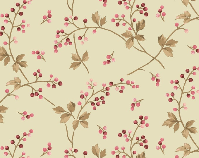 Maywood Fabric MAS9363-G Burgundy & Blush Berry Vine Green BTY