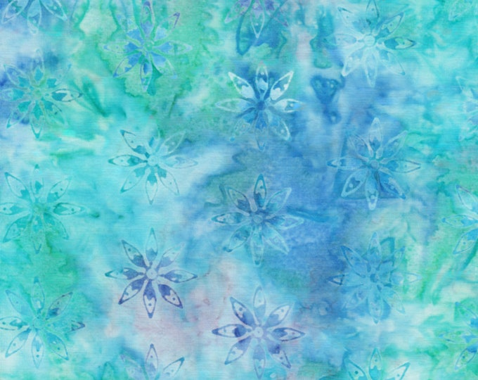 Anthology Art Inspired  Jacqueline de Jonge Batik Floral Blue Purple Teal Aqua Fabric 16203 BTY