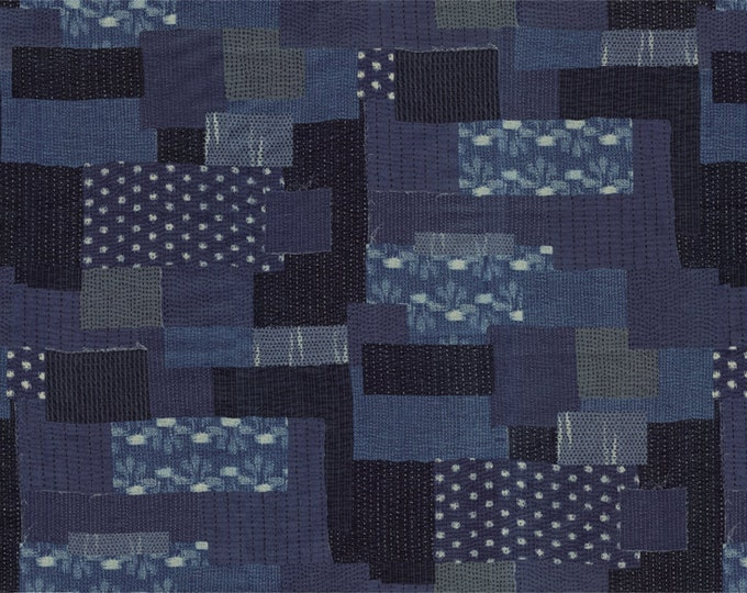 Moda Boro Bodoko Navy Indigo Dark Blue Patch Sachiko Fabric 33400-14 BTY