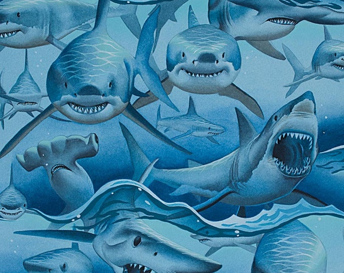 Alexander Henry Shark Sharks Ocean Turquoise Blue Dangerous Waters 8725 A Fabric BTY