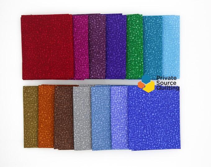 Windham Bedrock Texture Blender Gem Tones Red Green Blue Fabric 14 Fat Quarter Bundle