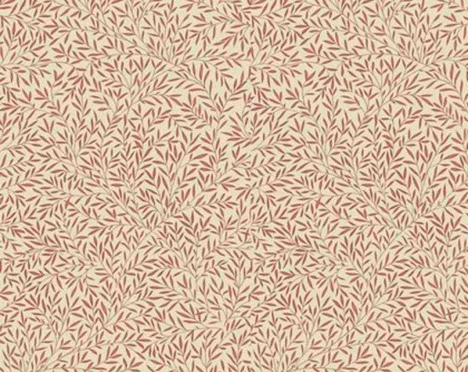 Free Spirit Kelmscott by Morris & Co. Lily Leaf Cream Beige Red Leaves Leafy Fabric PWWM004 BTY