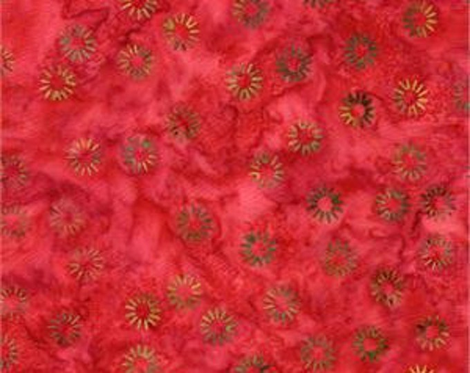 Batik Textiles small floral print wit dark watercolor red  background Designer Patterns by Susie  Cotton 4419 BTY