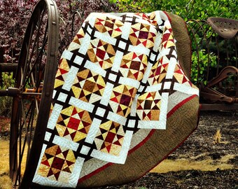 Dashing with the Stars Pixie Party PRECUT Brown Red Star Fabric Quilt Kit 61 x 78