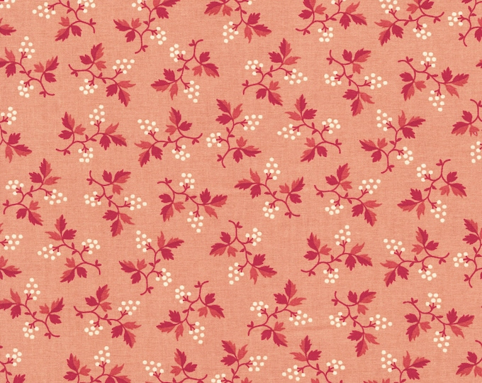 RJR Chocolate & Bubble Gum Cream Pink Floral Civil War Fabric 2718-001 BTHY
