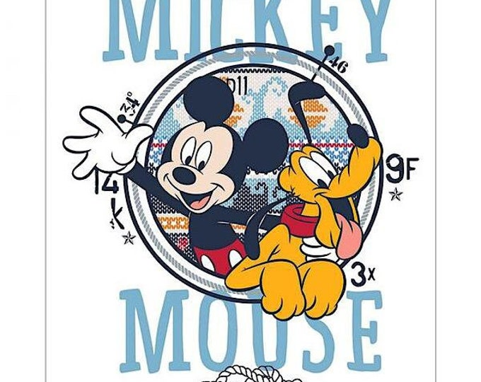 Mickey and Pluto Quilt Panel 85270509P 01 Cotton Woven Fabric