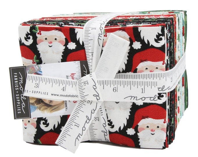 NEW Moda Kringle and Claus BasicGrey Holiday Christmas Santa Red Green 37 Fat Quarter Fabric FQ Bundle