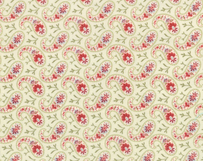 Moda Snowfall Prints Minick and Simpson Cream Green Pink Floral Paisley Holiday Fabric 14834-11 BTY