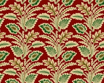 Marcus Old Sturbridge Village Civil War Christmas Red Green Floral Leaf Fabric 3159-0111 BTY