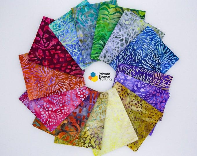 Kaufman Mckenna Ryan Tiger Fish Water Sea 14 Fat Quarter Batik Bundle Fabric 14 FQ