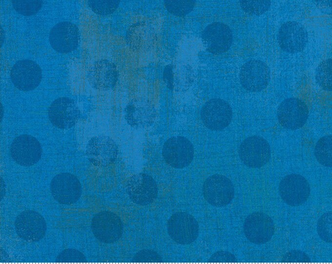 Moda Basic New SAPPHIRE Hits the Spot Blue Gray Polka Dot Grunge 30149-27 Fabric BTY