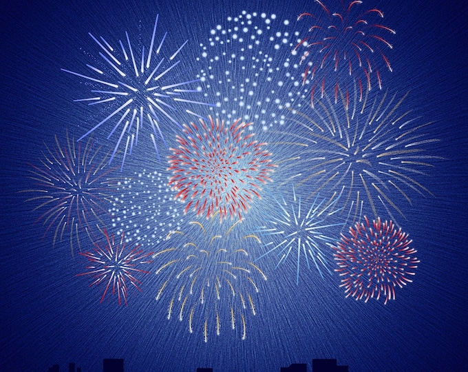 "Fireworks Panel 100% cotton 43"" x 43""  from Hoffman Fabrics"
