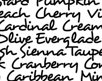 Windham Marcia Derse Black and White Word Cursive Colors Windham Cotton 108 WIDE 39513-2 Fabric