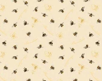 Wilmington Prints Follow the Sun Sunflower Bee Ecru Cream Beige Script Fabric 1409-84631 BTY