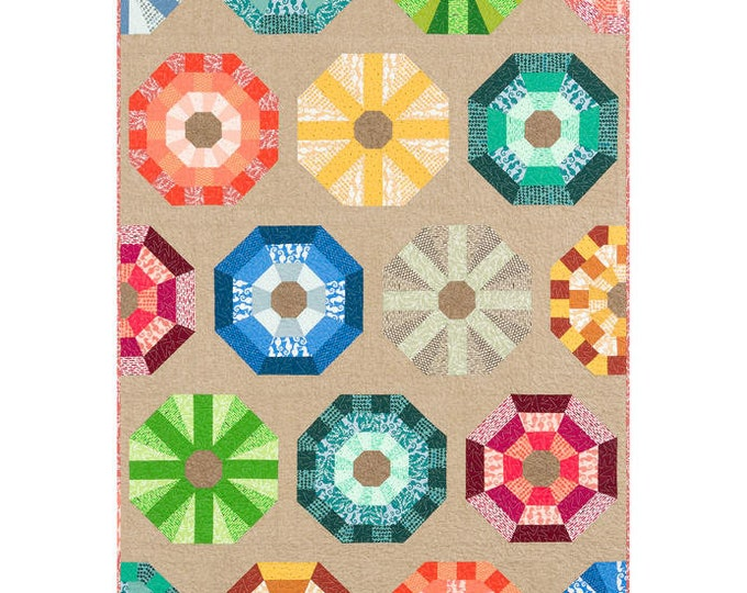 Robert Kaufman Sea Urchin Elizabeth Hartman Ocean Modern Quilt Kit and Pattern 54 x 72