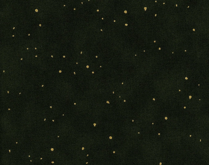 RJR Flaurie and Finch Shiny Objects Forest Hunter Green Flecked Gold Metallic Fabric 2792-11 BTY