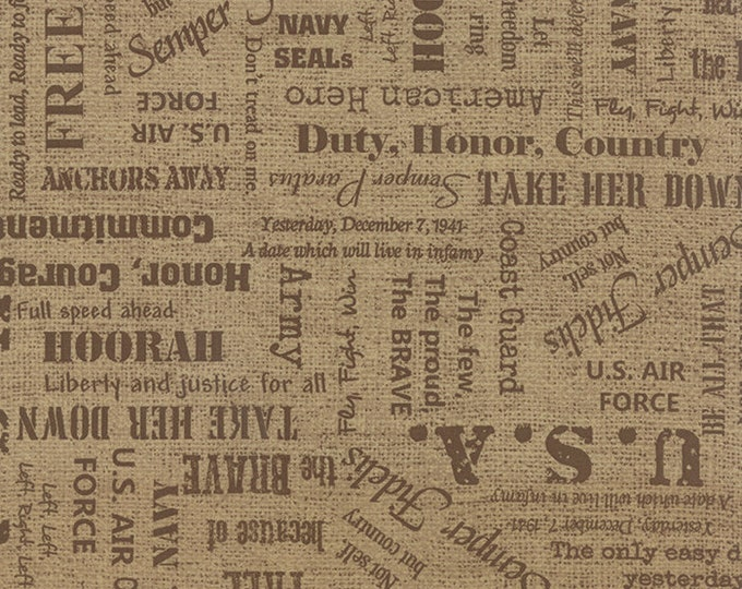 Moda Because of the Brave Tan Burlap Tonal Words American Patriotic Soldier Fabric 32950-12 BTY