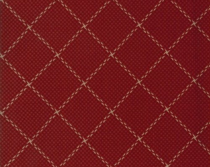 Moda Sycamore Jan Patek Red with Cream Plaid Civil War OOP Fabric 2208-12 BTY