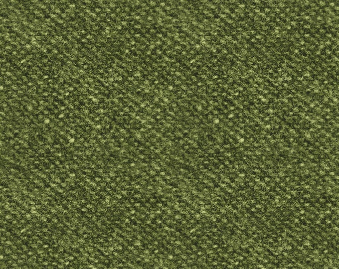 Maywood Woolies Green Olive Sage Nubby Tweed FLANNEL Fabric 18507-G BTY