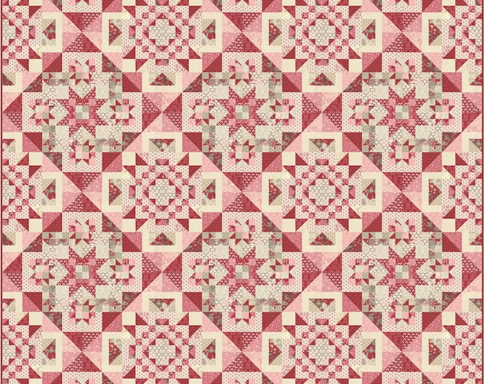 Moda French General Chafarcani Shabby Chic Red Pink Cream Beige Fabric Complete Quilt KIT 72 x 72