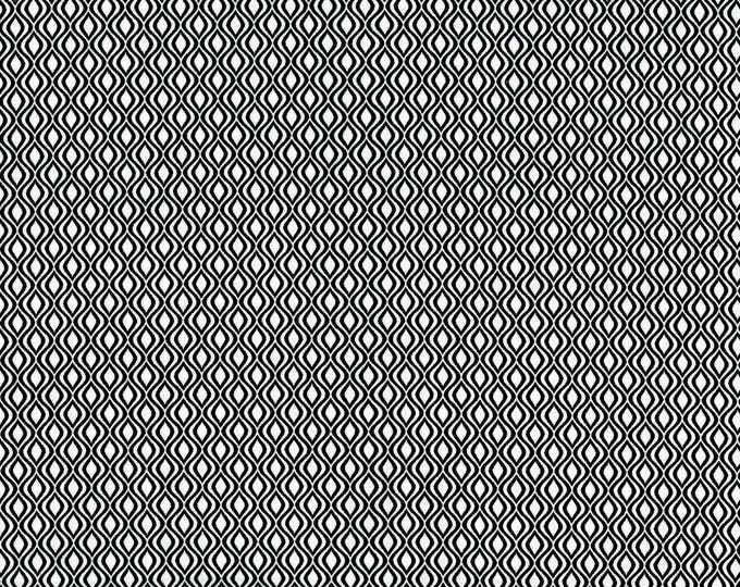 RJR Patrick Lose Odds and Ends Black and White Fabric 2910-002 White Background Black Serpentine BTY